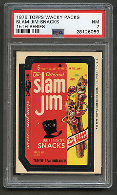 1975 Topps Wacky Packages Slam Jiim Snacks PSA 7 WB 15th Packs