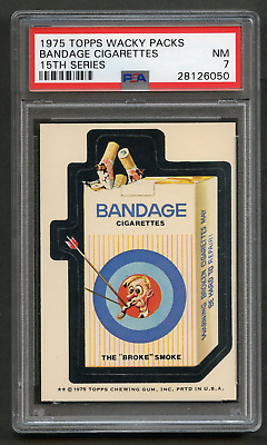1975 Topps Wacky Packages Bandage Cigarettes PSA 7 WB 15th Packs