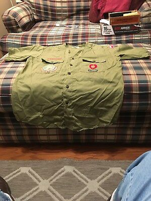 Vintage Boy Scouts Of America 1960S Green Short Sleeve Collarless Shirt