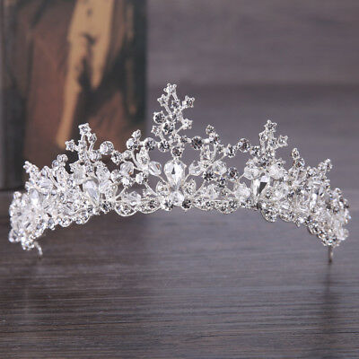 US Wedding Bridal Princess Rhinestone Crystal Prom Wedding Large Crown Headdress