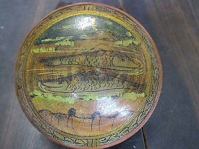 Antique Wood Snuff Box Painted Painted Asian Chinese Japan Fish Sturgeon Caviar