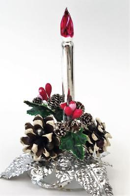 Beautiful Vintage Mercury Glass Candle Christmas Decor w/ Millinery Flowers