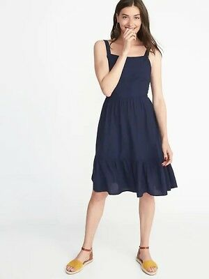 80298411060 OLD NAVY BLUE Lost at Sea Pintuck Pleated Tie Dress Small S NEW NWT ...