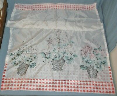 Vintage Set of 10 Printed Sheer Curtains Flower Basket Design + Valances