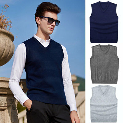 Men Soft Sweater Knitted Vest Warm Wool V Neck Sleeveless Pullover Top Shirt