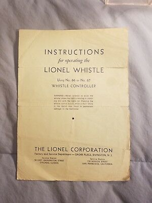 Original 1937 Lionel Trains Instructions for Operating Lionel Whistle #66 #67