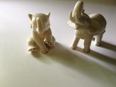 Pair Lenox Elephant Figure Sitting With Leg Up & Stand Cream Color Gold Trim Exc