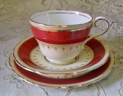 Vintage Aynsley Durham Red Gold Cream Trio Cup Saucer Plate Made In England