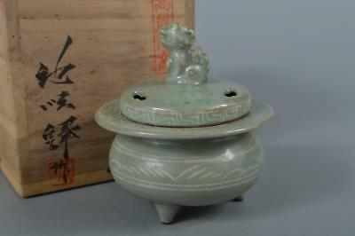R6371: XFKorean Goryeo celadon Flower inlay INCENSE BURNER 池順鐸 w/signed box