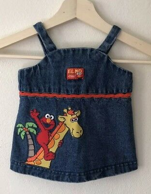 Vintage Kids Denim Elmo And Friends Dress - Size 12M