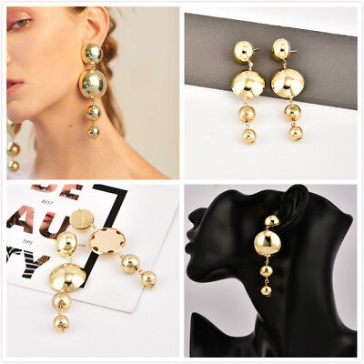 1Pair Big And Small Gold Plated Long Tassel Drop Dangle Stud Earrings Jewelry