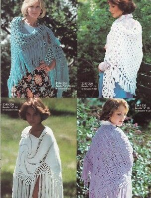 40 SHAWL Patterns for Women Vintage Knitting & Crochet Designs ~ Various Ply