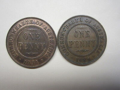 Penny 1931 Dropped One & normal One Australian Total 2 Coins