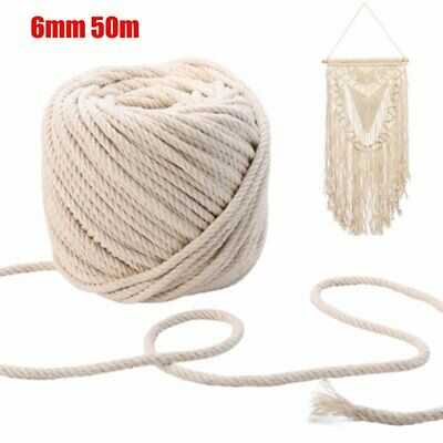 6mm 50m Macrame Rope Natural Beige Cotton Twisted Cord Artisan Hand Craft New ON