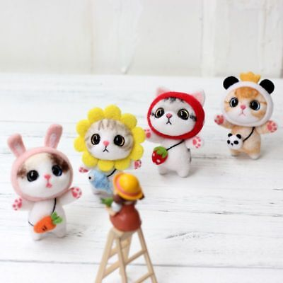 DIY Cat Doll Wool Felt Craft Non Finished Poked Set Handcraft Material Kit Bag