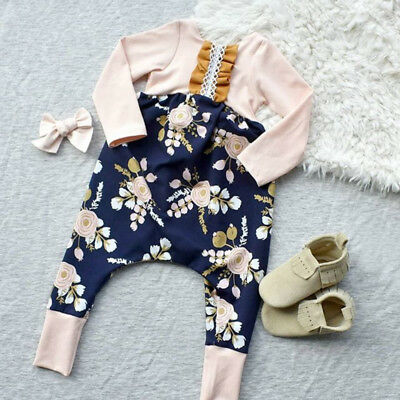 Cute Newborn Baby Girl Cotton Flower Romper Jumpsuit Headband Outfits Clothes US