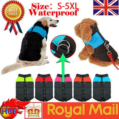 Waterproof Small/ Large Pet Dog Cat Clothes Winter Warm Padded Coat Vest Jacket