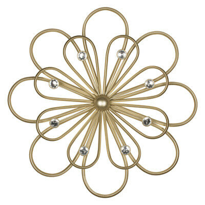 Floral Flower Gold Clear Diamante Decoration Wall Hanging Sculpture Plaque Art