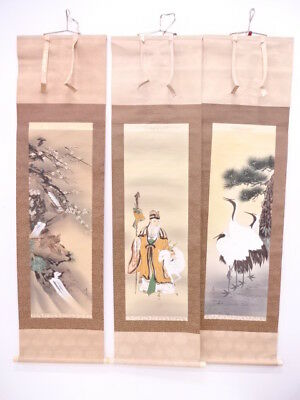 3851406: Japanese Wall Hanging Scroll Set Of 3 / Hand Painted / Crane & Turtle