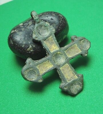 Ancient Bronze Cross Wearable Pendant Antique 9-11th century C83