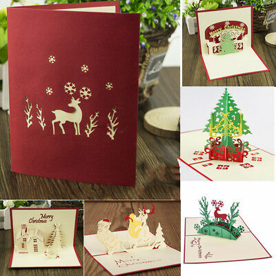 3d pop up christmas cards handmade holiday greeting card postcard family xmas - Photo Xmas Cards