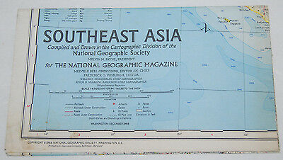 Southeast Asia Wall Map National Geographic December 1968 Vintage