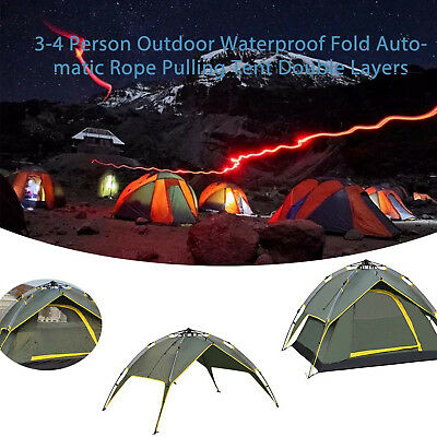 3-4 Person Double Layers Folding Tent Outdoor Camping Waterproof  Hiking A0