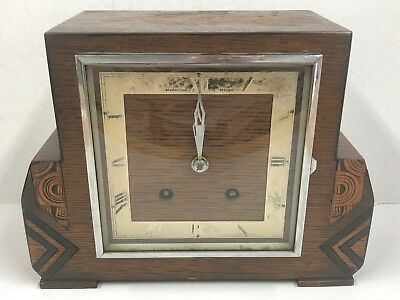 Vintage Retro Art Deco Bravingtons Renown Wooden Case Pendulum Mantel Clock TLC
