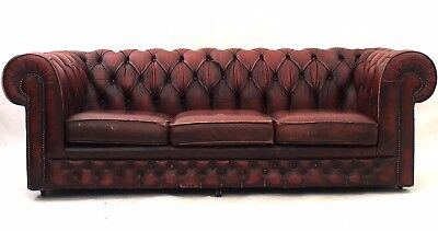 Vintage Oxblood Leather Chesterfield Sofa Rustic Industrial Club Buttoned Settee