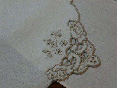 4 Vintage Beige  Madeira Linen Placemats Taupe Embroidered