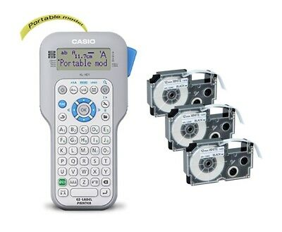 Casio KL-HD1 Handheld Label Printer + 3 Free Compatible 12MM Black on White Tape