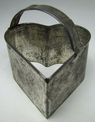 Antique TIN HEART Shaped Cookie Cutter w Handle figural food butter decorative