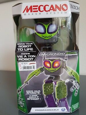 MECCANO Tech Micronoid green Switch Interactive Dancing Robot Spinmaster