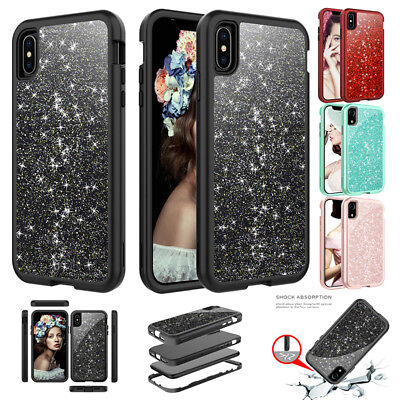 iPhone XS Max XR Case Glitter Bling Shockproof Full Protective Hard Armor Cover