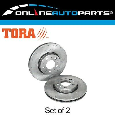 Front Slotted & Dimple Drilled Disc Brake Rotors Pair suits Volvo V70 1997~2003