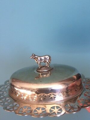 Beautiful Vintage Silver Plated Butter Dish With Cow Handle Stamped