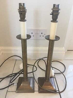 Pair of Vintage Laura Ashley Brass Lamp Bases (square)