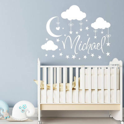 wall stickers custom colour name boy clouds moon baby vinyl decal decor Nursery