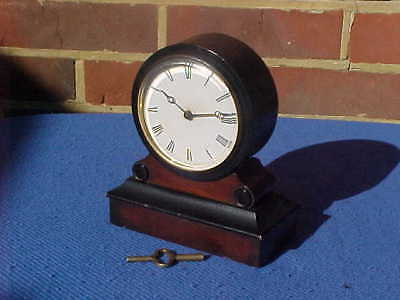 Victorian French Mahogany Eight Day Dead Beat Drumhead Mantel Clock - Gwo