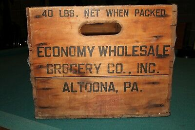 "Vintage 14 lb Wooden Banana Fruit Grocery Crate Altoona PA 34"" x 13"" x 10"""