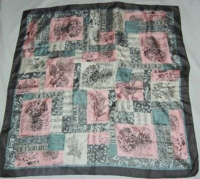 """Vintage French Silk Scarf Pink Gray White Flowers Floral Nature Beauty 34"""""""