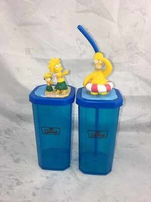 """2 X Hungry Jacks The Simpsons Collectable Beach Side Cups """"Homer & Lisa"""". 2005"""