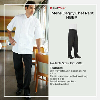 Chef Works Mens Baggy Chef Pant Hospitality Uniform Chefs Trousers Kitchen Cook