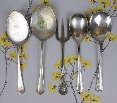 Vintage mixed lot of silver plated SERVING CUTLERY: SALAD SPOONS, GARNISH FORK.