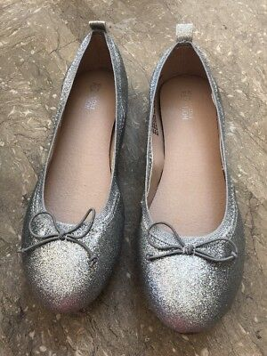 New Kenneth Cole Reaction Kids Tap Ballet Flats Girls 5 M 37.5 Silver NIB