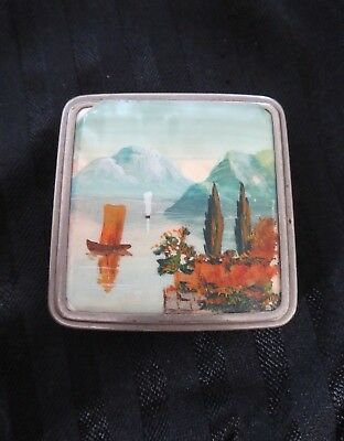 Vintage Rare 1930's Silver Plated Celluloid Stratnoid Ladies Compact Lake Scene.