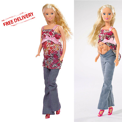 Girls Toy Steffi Love Barbie Girl Pregnant Doll Removable Tummy Baby Kids Gift