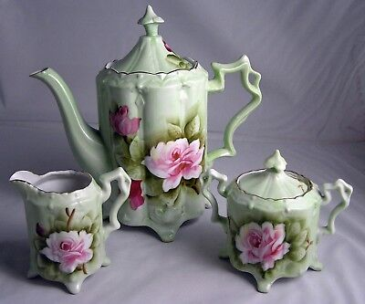 Vintage Lefton China Heritage Pink Roses Tea Set Hand Painted  EXC.