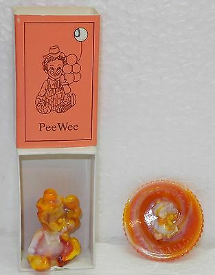 "Mosser Glass Pee Wee the Clown ""O"" Milk and Red"