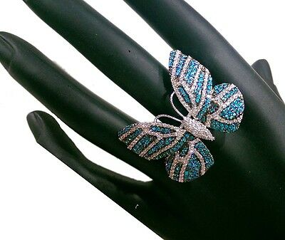 Very nice Blue And White CZ Butterfly Ring Made With silver